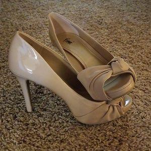 Beige Peep Toe High Heels